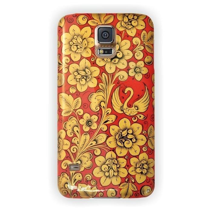 Чехол Хохлома для Samsung Galaxy S5,  Вернисаж D131-147, с защитной пленкой для стекла, DEPPA