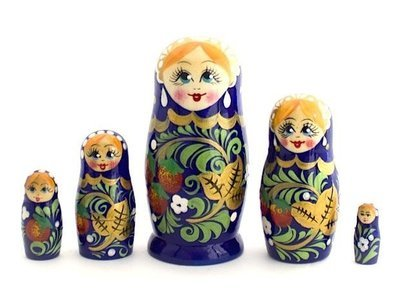 Матрёшка Семеновская «Россияночка» Хохлома 5 кукол (опт)