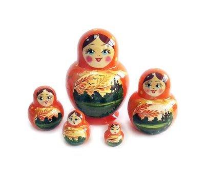 Матрёшка Семеновская «Катюша» осенний пейзаж 5 кукол (опт)