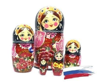Матрёшка Семеновская «Корзина с цветами малиновая» авторская 5 кукол (опт)
