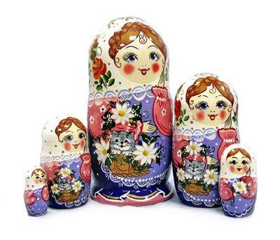 Матрёшка Семеновская «Кошка в лукошке» авторская 5 кукол (опт)