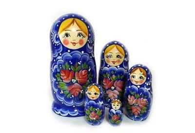 Матрёшка Семеновская «Россияночка» 5 кукол. Нетрадиционная роспись (опт)