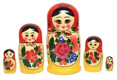 Матрёшка Семеновская «Россияночка» большого размера 5 кукол (опт)