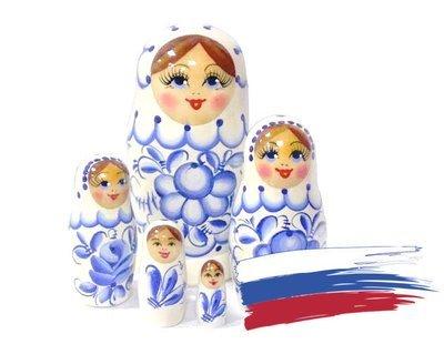 Матрёшка Семеновская «Россияночка» Гжель 5 кукол (опт)