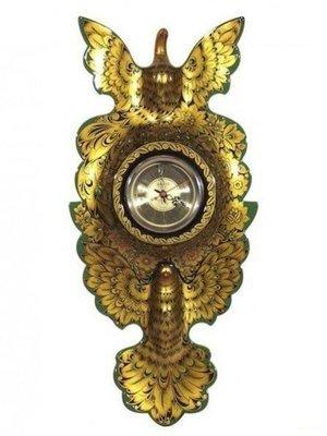 Панно резное с часами «Голуби» с хохломской росписью 580х270х50