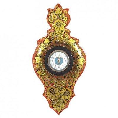 Панно резное с часами «Цветок» с хохломской росписью