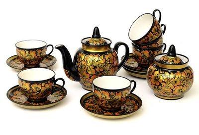 Чайный фарфоровый набор с хохломской росписью на 6 персон