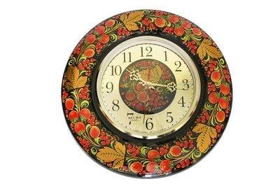 Часы «Весна» с хохломской росписью настенные