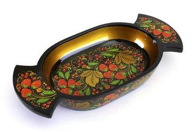 Сухарница с хохломской росписью.