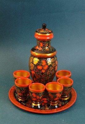 Набор для вина с хохломской росписью 8 предметов