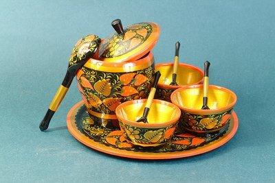 Набор для меда с хохломской росписью