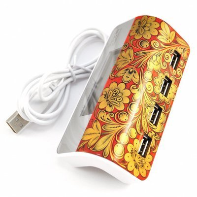 Хаб Хохлома, Вернисаж H001-14, USB концентратор c часами, 4 порта, CBR