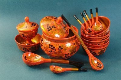 Набор для супа с хохломской росписью. 16 предметов