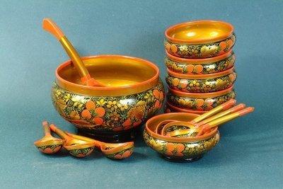Набор для ягод с хохломской росписью. 14 предметов
