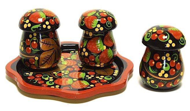 Набор для специй «Грибы» с хохломской росписью. 4 предмета