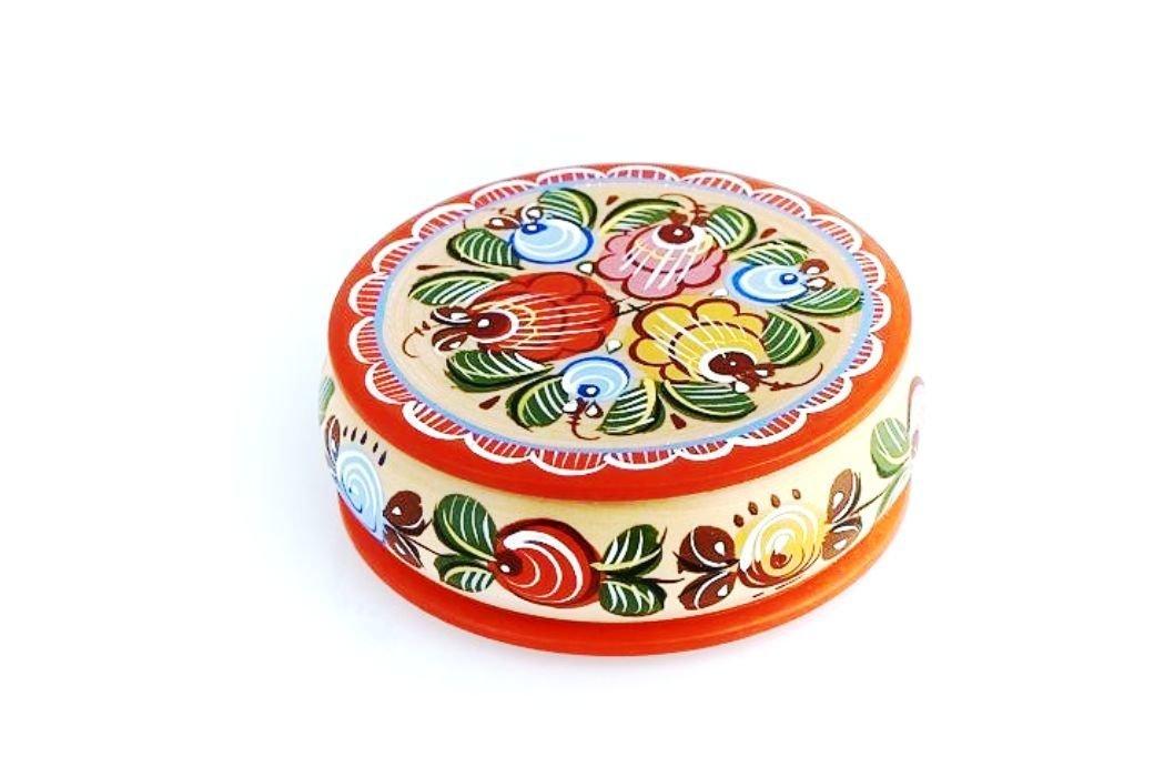 Шкатулка токарная с городецкой росписью с11-1572