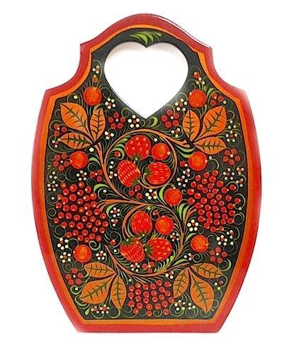 Доска разделочная Сердечко с хохломской росписью 225x300