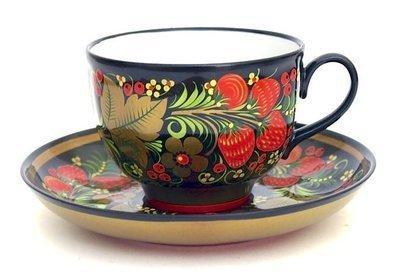 Чайная пара (фарфор) с хохломской росписью