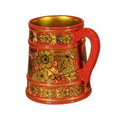 Кружка для пива с хохломской росписью 160х140