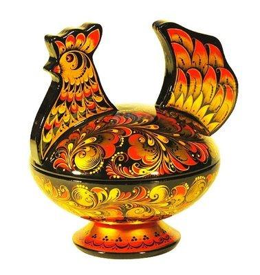 Конфетница Курочка 175х175х145 с хохломской росписью.