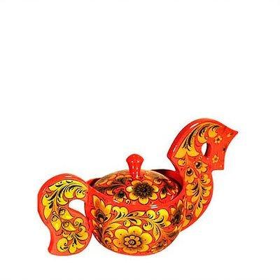 Ковш-конфетница «Конек» 150х125х265 №1 с хохломской росписью
