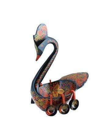 Ковш-лебедь 210х210х130 с хохломской росписью