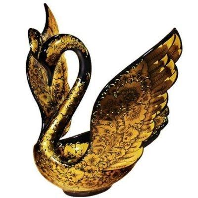 Ковш-лебедь «Незнакомка» с хохломской росписью