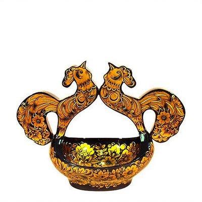 Ковш «Петухи поющие» 285х195х400 с хохломской росписью.