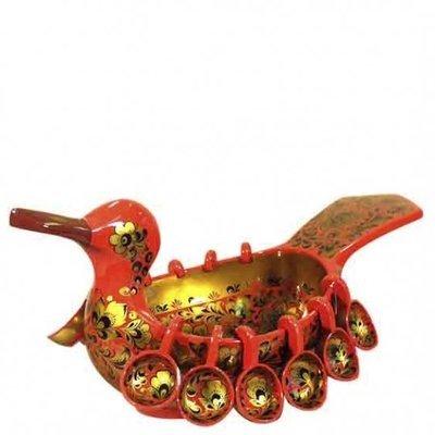 Ковш-утка 550х240 с навесными ковшами с хохломской росписью