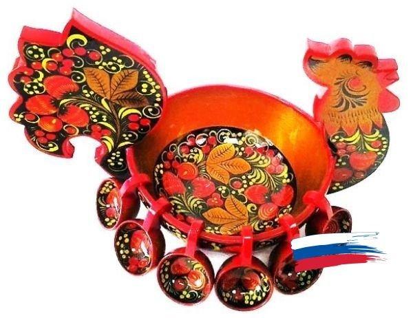 Петушок с навесными ковшами 200x250 с хохломской росписью