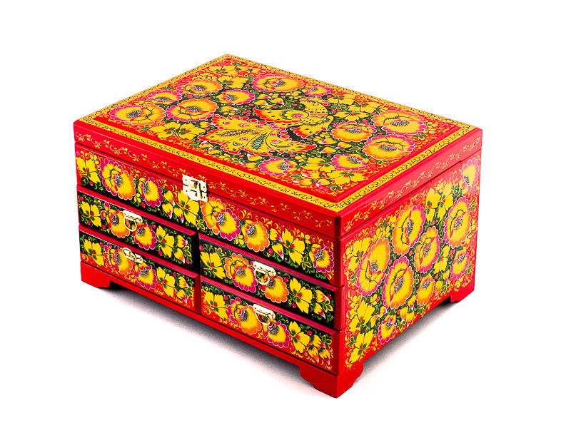 Ларец с ящиками 320x230 с хохломской росписью