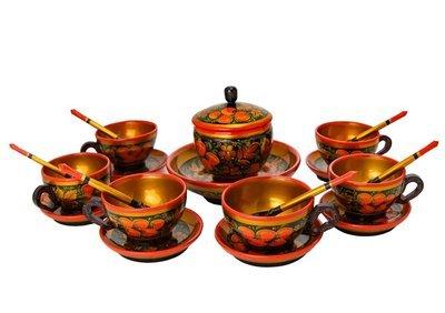 Набор для чая с хохломской росписью. 20 предметов