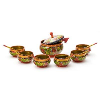 Набор кухонной посуды «Харчо» с хохломской росписью. 14 предметов