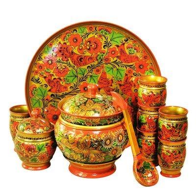 Набор для компота  с хохломской росписью 11 предметов