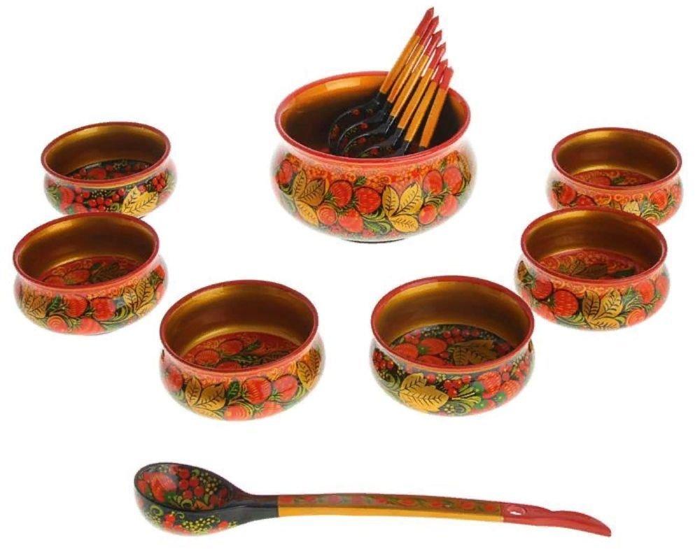 Набор для салата с хохломской росписью. 14 предметов