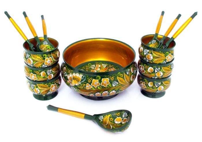 Набор для варенья с хохломской росписью.  14 предметов