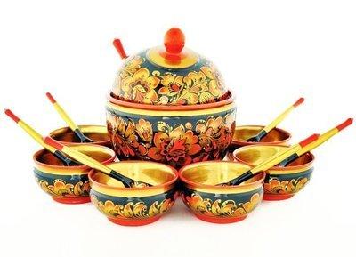 Набор для меда с хохломской росписью 14 предметов