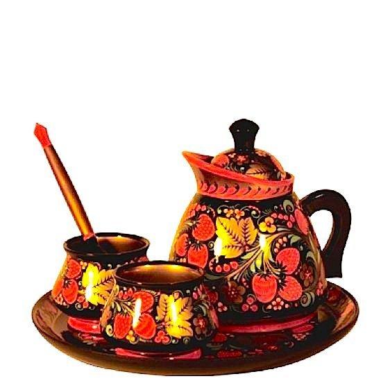 Набор для кофе с хохломской росписью. 5 предметов