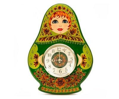 Панно с часами «Матрёшка» с хохломской росписью