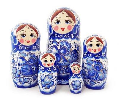 Матрёшка Семеновская авторская «Гжель» 5 кукол (опт)