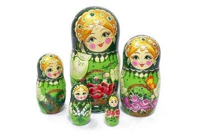 Матрёшка Семеновская «Корзина с цветами изумрудная» авторская 5 кукол (опт)