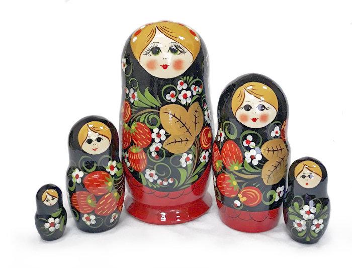 Матрешка Семеновская «Клубничный платок» 5 кукол