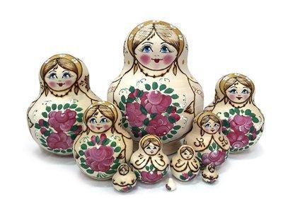Матрёшка Семеновская «Катюша» с выжиганием. 10 кукол (опт)