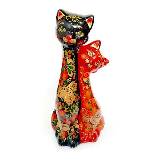 Ермиловская игрушка, копилка «Кошки» с хохломской росписью. 30 см