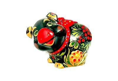 Ермиловская игрушка, копилка «Свинья с бантом» с хохломской росписью