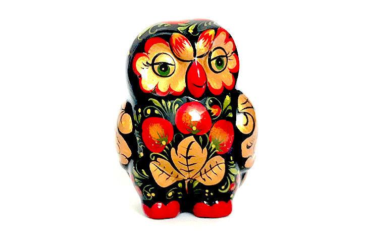Ермиловская игрушка, сувенир «Сова» с хохломской росписью