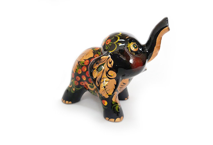 Ермиловская игрушка, сувенир «Слоник» с хохломской росписью
