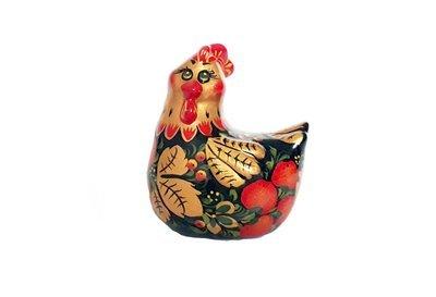Ермиловская игрушка, сувенир «Курочка» с хохломской росписью
