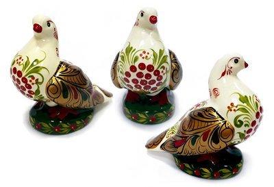 Ермиловская игрушка, сувенир «Голубка» с хохломской росписью. Большой размер