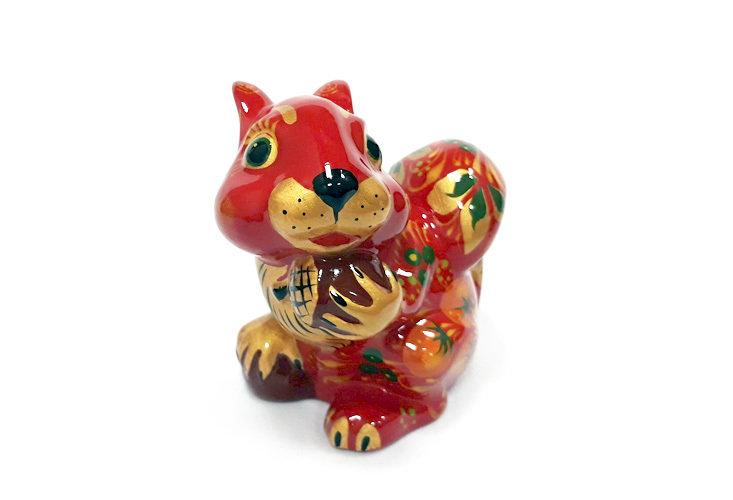 Ермиловская игрушка, сувенир «Белка» с хохломской росписью.